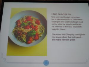 Some data Anna presented about the readers of Everyday Food