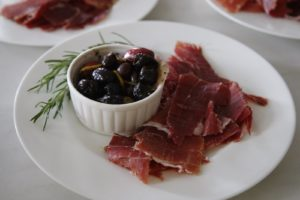 Prosciutto and cured olives