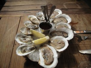 This is a beautiful platter of icy and delicious east coast oysters - so briny!