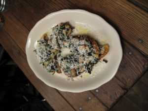 And a delicious crostini with chopped Swiss chard, and shredded aged goat cheese.