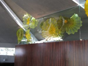 The Elrod house (1968), my favorite, was designed by John Lautner, an apprentice to Frank Lloyd Wright. This sculpture by Dale Chihuly is installed in the living room.