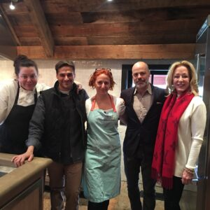 After their demo, Thomas and Sarah posed for a photo with The Barn's executive chef, Cassidee Dabney, Farmstead School manager, Jeff Ross, and Blackberry's owner, founder and director of design, Kreis Beall.
