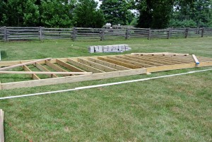 Joists are lengths of timber arranged in a parallel series to support a floor or ceiling. For this floor frame, the joists are secured using galvanized nails.