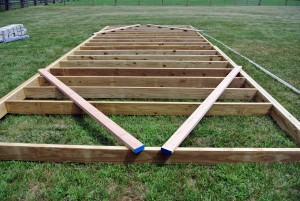 Here is a closer look at the wooden floor frame - just a couple more joists to go.