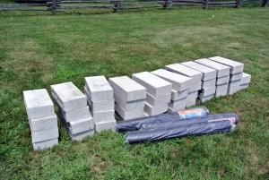 Meanwhile, our landscaping friends  focused on building a proper foundation set on concrete blocks.