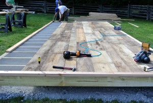 Wide planks were nailed into the frame and to the joists.