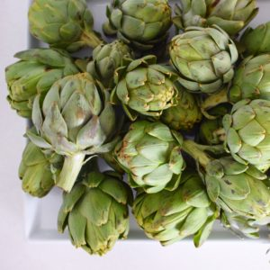 I also brought in all these beautiful artichokes. We have so many artichokes this year!