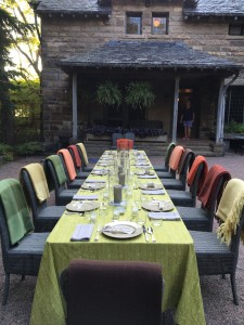 The long table was set for 14-guests just outside the back entrance of my home.  Blankets were placed on each chair in case it got too breezy.