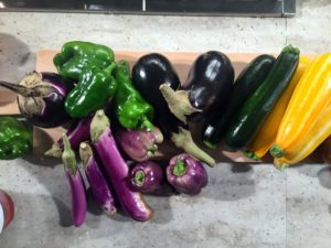 These vegetables were picked fresh from my garden in Bedford, New York - peppers, eggplants, zucchini and all the tomatoes.