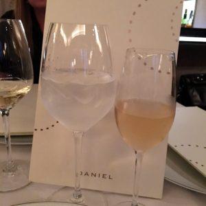 """At our table, we were served champagne - Pierre Paillard Bouzy Grand Cru """"Cuvée Daniel"""", and wine - Domaine Aubert & Patricia de Villaine Bouzeron Aligoté, 2014."""