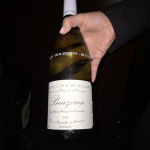 The white wine is one of the great wines of the South of Burgundy, an Aligoté from Bouzeron, made by the owner of the Domaine de la Romanée-Conti. I actually visited the vintner during a trip to France in 1977. I really like this wine, and have found more and more restaurants are carrying it.