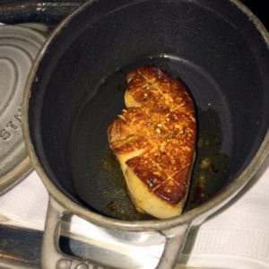 Here is my foie gras sitting in a pan before it is plated.