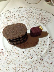 ILLANKA is Peruvian dark chocolate Espelette crémeux cocoa Moelleux, with blackberry-orange blossom sorbet.