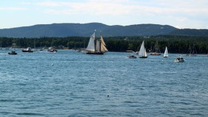 As part of the celebrations marking Acadia National Park's 100th anniversary, dozens of sailboats and powerboats gathered at Somes Sound for the Windjammer Parade.