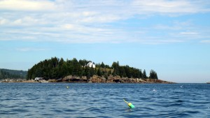 Located at the mouth of of Northeast Harbor is Bear Island and the Bear Island Lighthouse.