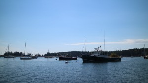 This is a picturesque scene of the town dock in Seal Harbor.