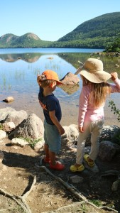 Here they are at the pond looking at their reflections and contemplating the clarity of the water.