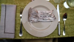 I made place cards out of white birch bark we removed from fallen branches.