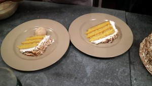 I love genoise cake - each piece of light, elegant sponge cake, was served with a scoop of homemade peach sorbet.