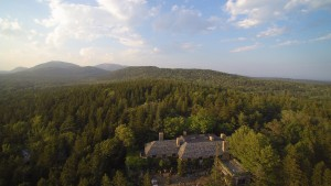 Here is an aerial shot way above my large terrace, and the magnificent views of the woodlands beyond.