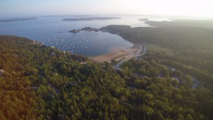 Rising even higher above Skylands, the drone captured this view of Seal Harbor, and Sutton Island - a small, private island south of Mount Desert Island, and north of Cranberry Isles, Maine.