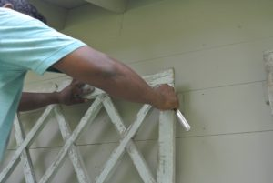 He then carefully positions the trellis on the wall. The center trellis is hung first and will serves as the guide for all the others.
