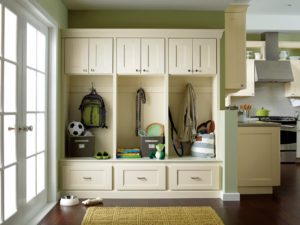 You can personalize space in other rooms of the house with our cabinetry too. This mud room is outfitted with storage  room for every member of the family.