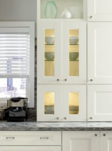 I am very proud of the features we have included in our Martha Stewart Living™ Kitchens. This decorative accent allows one to show off - use these cabinet doors with windows to display favorite dinnerware pieces.