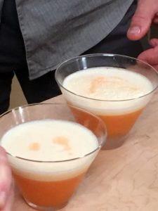 The cocktail included vodka, lemon juice, passion fruit syrup, Aperol, and egg whites. I added a little drizzle of Aperol on top - it is my favorite aperitif. Watch our show for the complete recipe - it's a delicious drink!