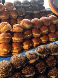 The menu included mini brioche rolls with egg salad and pumpernickel with tuna salad.