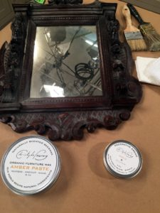 I've been using Christophe's furniture products for years. Christophe showed us how easy it is to clean this antique mirror using    organic furniture wax.