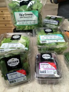 When Gotham Greens started, it offered five types of packaged salad greens and herbs. Later harvests included tomatoes, baby kale, arugula, bok choy and Swiss chard - so many, many choices.