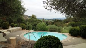When we arrived in the Napa Valley, we went straight to a beautiful suite at the Auberge du Soleil hotel. The beautiful hotel restaurant was specifically set up for people who tour the Napa and Sonoma vineyards. This is one of several round pools at the hotel.