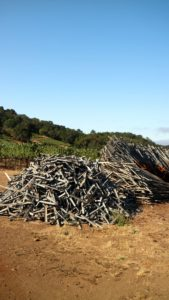 Again, Molly repurposes everything on the vineyard. These are grape stakes that are no longer usable and made into magnificent sculptures.