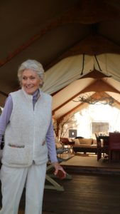 Molly has recently completed this exquisite safari tent where special visitors will be tasting the wines of the vineyard.