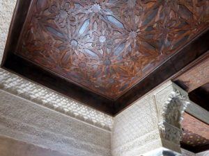 At Palacios Nazaries - beautifully carved ceilings. Look closely, the coverings have wooden frames that have been exquisitely carved also.