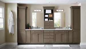 The beauty of my cabinetry line at The Home Depot is that they can be used in any room of the house. Our new deep gray-brown PureStyle color, Brook Trout, has the great advantage that all neutrals have: it helps bring together every other color in the room. This earthy neutral is a beautiful backdrop to the colors that occur in home décor, from dishware displayed in the kitchen to linens and rugs in other rooms.   Pictured here is my second PureStyle color addition, Brook Trout in the Maidstone cabinetry style. I love using Purestyle in bathrooms because it resists heat and moisture, and it won't expand or contract with changing conditions.