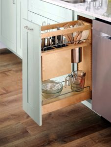 Another great addition is this Base Pull-out with Knife and Utensil Organization. This helps free up counter space and is a safe place to store knives and other sharp kitchen items. The knife block features movable flex rods that adjust to hold a multitude of sized knives.