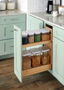 Our new Base Pull-Out with Canisters comes with seven OXO Good Grips POP containers that fit neatly inside and can hold everything from cereal to nuts to pasta. The clear containers make it easy to see the contents inside.