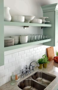 Combined with shelf supports or corbels, these clean, open shelves let you create an eye-catching display of serve ware or collectibles.