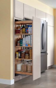 I love this new Tall Pantry Pull-out. It's a great-designated spot to hold food items, pots or pants to keep countertops clean and clutter-free. It has three adjustable shelves to allow for you to adjust based on your needs.