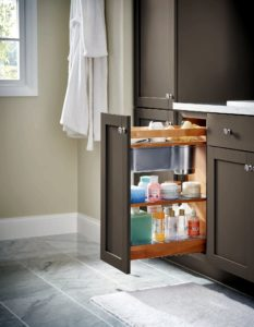With stainless steel bins for grooming tools and non-slip shelves, this pull-out keeps sinks neat and mornings more efficient.