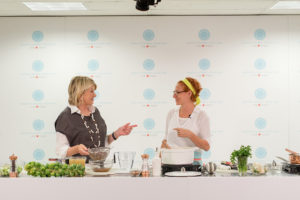 I conducted the demo with our executive editorial director of food, Sarah Carey. (Photo by Wire Image)