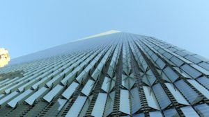 Here's a view looking up to the top of One World Trade Center from street level. It is the tallest skyscraper in the Western Hemisphere, and currently the sixth tallest in the world - so amazing.