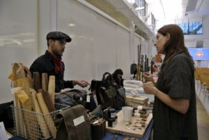 Margaux and Walter Kent of Peg + Awl use reclaimed materials to make desk caddies, jewelry, waxed canvas bags and more. https://www.amazon.com/handmade/Peg--Awl?ref=hnd_dp_smp