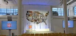 This was our American Made Summit stage under the backdrop of a large United States banner printed by Spoonflower. http://www.spoonflower.com