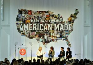 "The dynamic CMO of GE, Linda Boff, talked about ""Big Business with a Start-Up Mentality"". She spoke with VP of manufacturing at Shinola, Jennifer Guarino, founder and CEO of MikMak, Rachel Tipograph, and co-founder and CEO of Knotch, Anda Gansca - leaders at companies that work with GE. (Photo by Mike Krautter)"