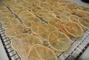 Here are the roasted lemon chips - cooked just until the sugar dissolved.