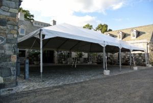 At the end of the day, the tent is up and completely secured - a nice, clean, strong tent.
