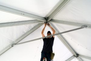 Above, lighting provided by Stortz Lighting, is attached to the frame of the tent. http://www.stortzlighting.com